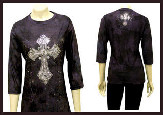 Purple 3-q sleeve with crossl-tn