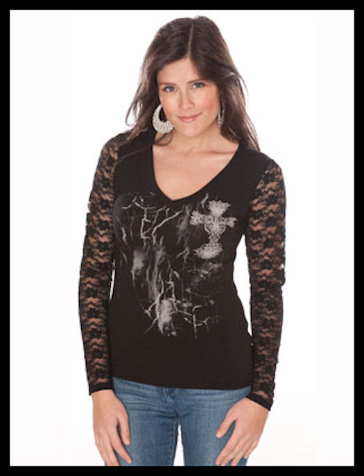 Black cross v-neck with lace-lg