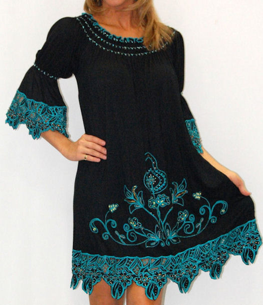 Black and turqu. crochet dress-lg
